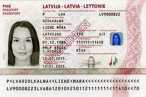 Latvian passport - Information page of a current design Latvian biometric passport