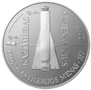 Casimir Siemienowicz - 50 Litas commemorative coin dedicated to the 350th anniversary of Artis Magnae Artilleriae
