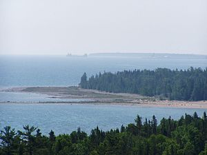 Geography of the Interior United States - Freighter entering Thunder Bay on Lake Huron