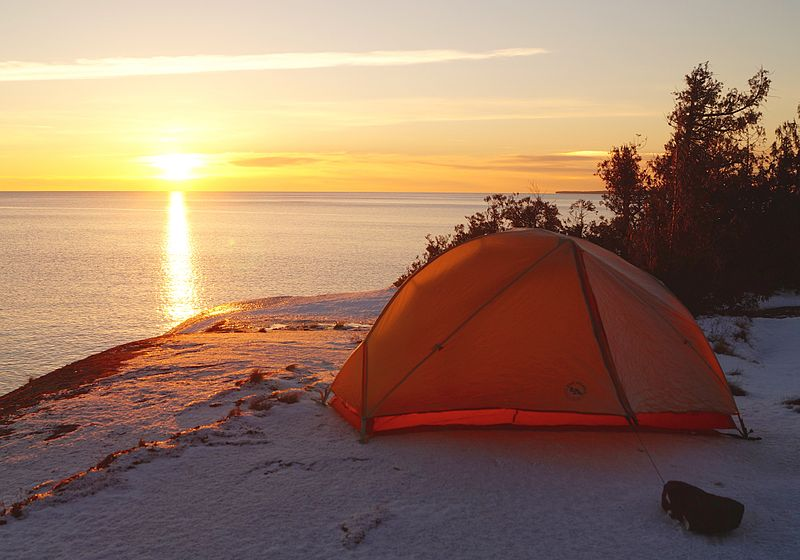 Sunrise at Lake Superior Provincial Park, campground on the shore