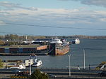 Lake freighters Algoma Quebecois and Robert S. Pierson, moored in Toronto, 2013 10 23 (1).jpg