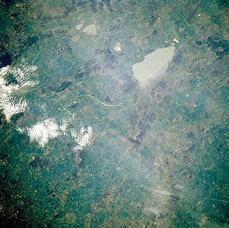 Lake Bathurst (New South Wales) - Lake Bathurst at the top of the image, pictured in 1985, viewed from a space shuttle. The larger lake is Lake George.