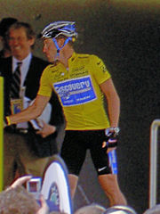 Seven-time winner Lance Armstrong in the maillot jaune.