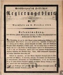 Anordnung der Landestrauer wegen des Todes von Großherzogin Luise im Großherzoglich Hessisches Regierungsblatt (Quelle: Wikimedia)