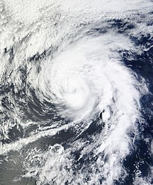 A visible satellite image of a Category 1 hurricane on September 17.