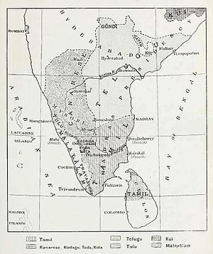 Billava - Linguistic map of the Madras Presidency, ca. 1913.