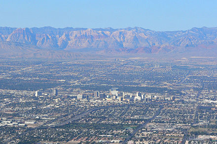 Downtown Las Vegas with Red Rock Canyon in the background. Las Vegas from Frenchman 3.jpg