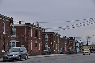 National Register of Historic Places listings in Lawrence, Massachusetts - Image: Lawrence MA American Woolen Mills Housing District Street Scene