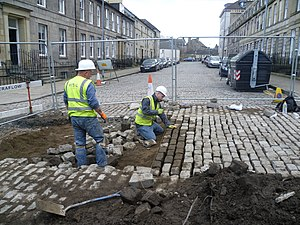 Sett (paving) - Laying setts in Edinburgh, Scotland in 2013