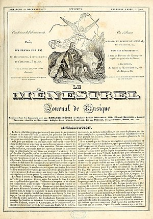 Le Ménestrel - Front page of the first edition of Le Ménestrel (1 December 1833)