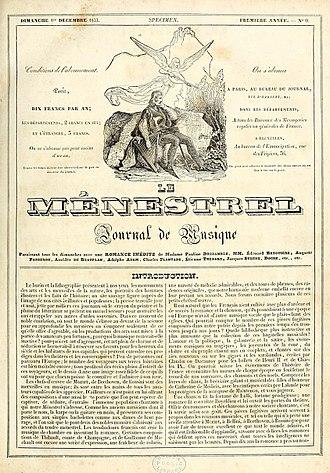 Le Ménestrel - Front page of the first edition of Le Ménestrel (1 December 1833)