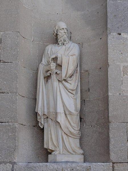Les Monthairons (Meuse) église, façade, statue B