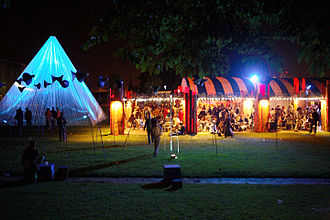 Rennes - A festival by night at Thabor Park