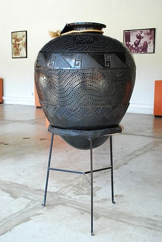 "Museo Estatal de Arte Popular de Oaxaca - Large barro negro ""cantaro"" jar on display at the museum"