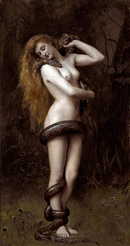 Lilith (1892), by John Collier. Atkinson Art Gallery and Library, Southport, England. Lilith (John Collier painting).jpg