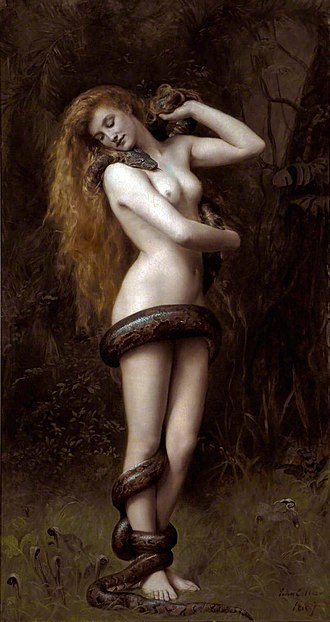 Demon - The female demon Lilith under the appearance of a snake cavorting with herself as personified within the Garden of Eden, by John Collier, 1892