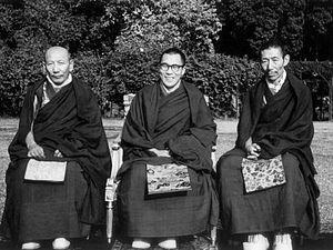 Ling Rinpoche - Ling Rinpoche, the 14th Dalai Lama and Trijang Rinpoche at Hyderbad House, New Delhi, 1956