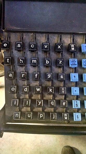 "Etaoin shrdlu - Close-up of keyboard, showing ""etaoin / shrdlu"" pattern."