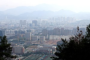 Lishui - A view of the city from nearby Baiyun Mountain Park