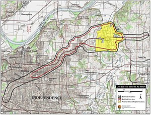 Battle of Little Blue River - Map of Little Blue River Battlefield core and study areas by the American Battlefield Protection Program.