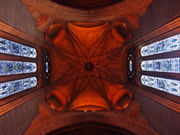 The interior of the cathedral, looking up in to the vault below the central belltower.