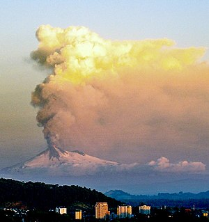 Southern Andean Volcano Observatory - Llaima's 2008 eruption as viewed from Temuco