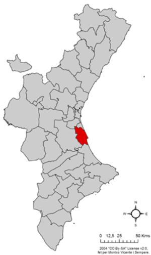 Ribera Baixa - Image: Localització de la Ribera Baixa respecte del País Valencià