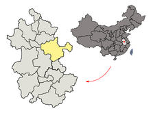 Location of Chuzhou City jurisdiction in Anhui