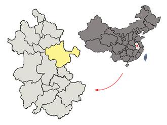 Chuzhou - Image: Location of Chuzhou Prefecture within Anhui (China)