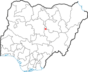 2001 Jos riots - Location of Jos in Nigeria