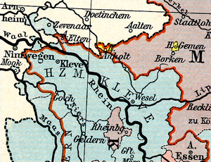 Lordship of Anholt - Map as in 1789, with Anholt in upper centre