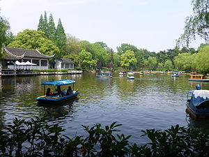Huzhou - Wide shot of the western pond in Lotus Garden, Huzhou, Zhejiang province, China