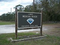 Sign on SR 46 for the Lower Wekiva River Prese...