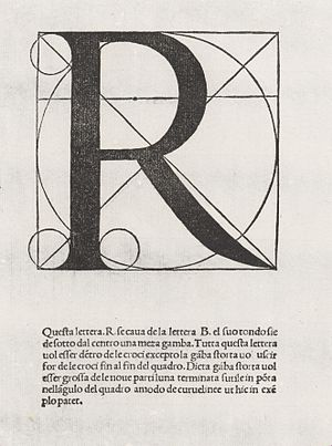 R - Letter R from the alphabet by Luca Pacioli, in De divina proportione (1509)