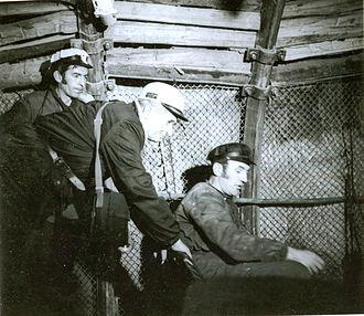 Jiu Valley miners' strike of 1977 - Ceaușescu, in miner's helmet, on a return visit to Lupeni in November 1977.