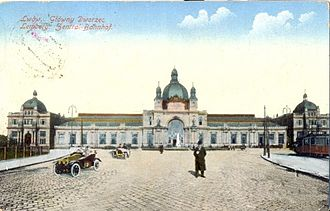 Lviv railway station - Postcard of the station, circa 1915.
