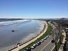 Widok z Lynn Shore Drive na Nahant i Boston