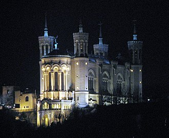 Basilica of Notre-Dame de Fourvière - The basilica at night