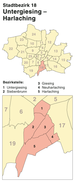Untergiesing-Harlaching - The borough's position in Munich