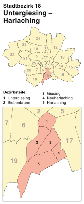 Untergiesing-Harlaching - The borough's position in Munich
