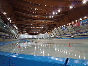 The Amazing Race 26 - One of the Detour choices in Nagano paid tributes to the 1998 Winter Olympics where team members had to push their partners around M-Wave's speed skating track.