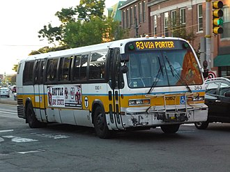 MBTA Bus - Image: MBTA route 83 bus on Mass Ave at Walden Street, September 2014
