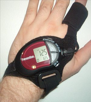 Heart rate monitor - Photo of a strapless heart rate monitor