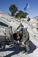 MINUSTAH peacekeepers continue to work to find survivors after an earthquake (12 january 2010).jpg