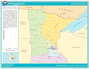 United States House of Representatives elections in Minnesota, 2008 - Map of Minnesota showing all eight districts