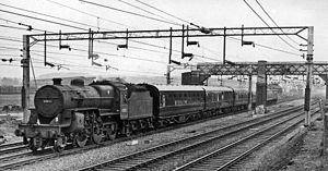 Madeley, Staffordshire - Train of new carriages at site of Madeley LNWR Station in 1962