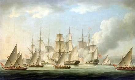 The Maratha Navy, which is considered to be the foundation of the modern Indian Navy, often employed land and sea coordination tactics when attacking, which won them many battles against the Mughals and Portuguese Mahratta pirates attacking the sloop 'Aurora', of the Bombay Marine, 1812; end of the action RMG BHC1085.tiff