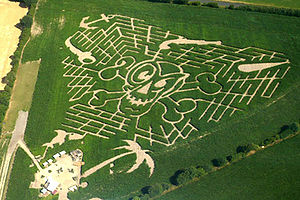 Corn maze - A corn maze in Delingsdorf, Germany, showing how mazes can be designed to conform to a specific theme