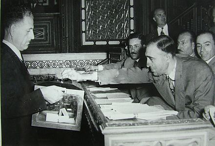 Baath MPs Salah al-Bitar and Mansour al-Atrash voting in Parliament - 1955 Mansur Al-Atrash2.jpg