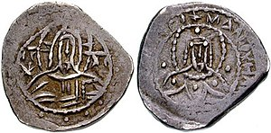Manuel II Palaiologos - Half stavraton coin by Manuel. On the reverse, Manuel's bust.